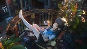Anime  School Girl  Reading  4k   191 Wallpaper