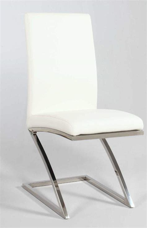 unique zigzag shape leather dining chair in white and