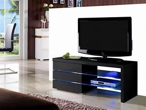 Meuble Tv Noir Laqué : meuble tv faisceau 3 tiroirs laqu noir ou blanc leds ~ Nature-et-papiers.com Idées de Décoration