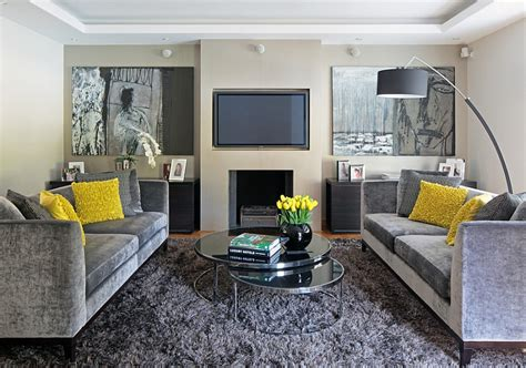 Living Room Ideas With Yellow And Gray by Gray And Yellow Living Rooms Photos Ideas And Inspirations