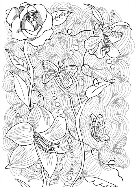 Page Tattoo Flowers Butterfly - Tattoos Adult Coloring Pages