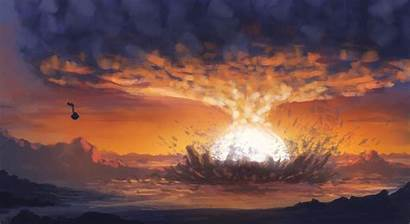 Explosion Painting Destruction Sunset Wallpapers Smoke Sphere