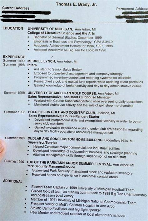 Tom Brady Resume Tweet by Tom Brady Resume Circa 1999 Shows What Might Been