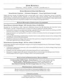 hr manager resume exles exle human resources operations manager resume free sle