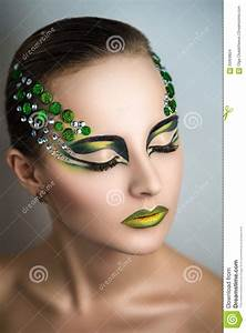 Woman with green make up stock photo. Image of dragon ...