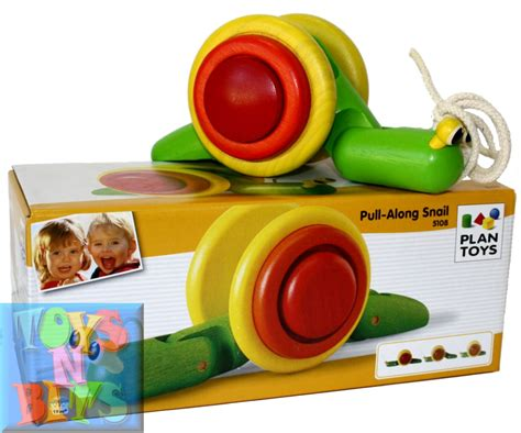plan toys pull along snail 5108 wooden pull infant new ebay