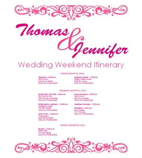 Wedding Itinerary Template  11 Free Word, Pdf Documents. Monthly Business Expense Template. Student Council Election Posters. Therapist Progress Notes Template. Sample Cv For Graduate School. Love Poem Template. Simple Plant Worker Cover Letter. Letter From Mom To Daughter Graduation. Graduation Cap Decoration Kit Walmart