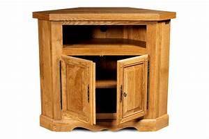 Meuble Angle Bois : meuble tv d 39 angle en ch ne massif rustique hellin ~ Edinachiropracticcenter.com Idées de Décoration