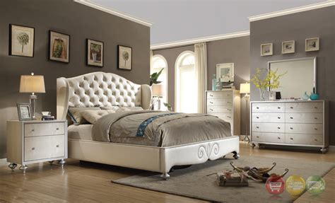 glamorous pearl white button tufted wing  bed faux