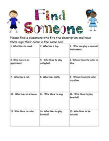 Kids Find Someone Who Icebreaker Worksheet