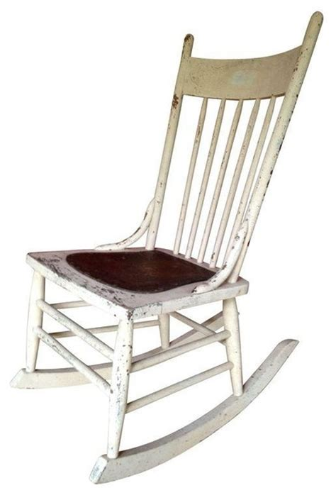 used antique white wooden rocking chair farmhouse