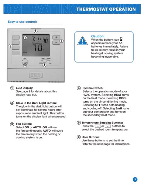 thermostat operation pro  operation manual user