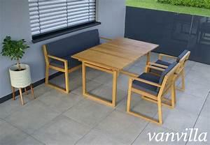 Gartenmöbel Set Runder Tisch : vanvilla gartenm bel set holz 1 tisch 1 bank 2 sessel set2 auflage grau ~ Bigdaddyawards.com Haus und Dekorationen