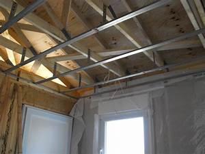 Faux Plafond Placo Sur Rail : mise en place suspentes et rails pour placo du plafond ~ Melissatoandfro.com Idées de Décoration