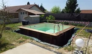 piscine en bois carree piscine sur mesure vercors piscine With marvelous terrasse piscine semi enterree 12 piscines bois petite piscine hors sol enterree