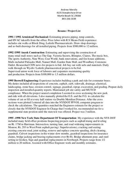 Resume  Project List