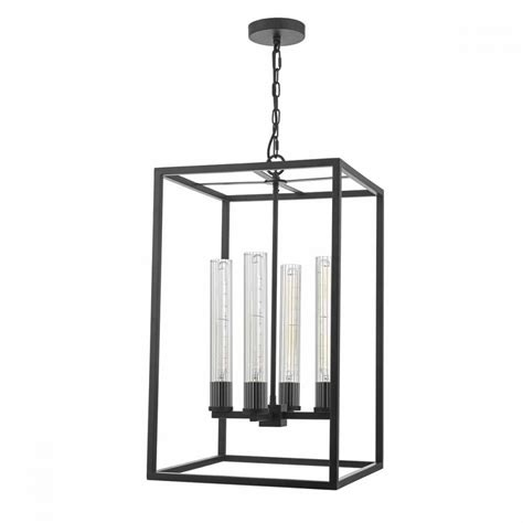 lantern pendant light black modern vintage black 4 light pendant lantern with ribbed