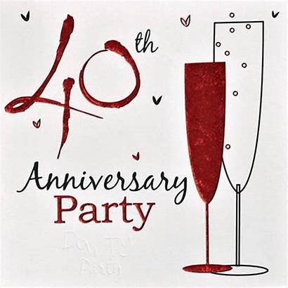 Anniversary 40th Clipart Ruby Wine Borders Celebration