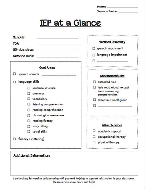 Iep At A Glance Template - Costumepartyrun