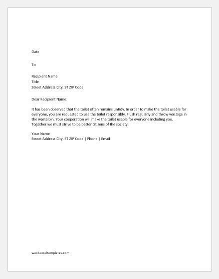 Complaint Letters for School & Office Toilet | Word