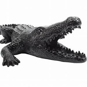Statue Animaux Design : statue sculpture d corative design crocodile en r sine noir ~ Teatrodelosmanantiales.com Idées de Décoration