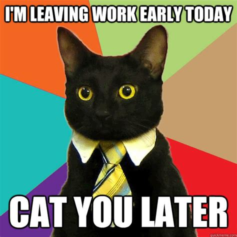 Business Cat Memes - i m leaving work early today cat you later business cat quickmeme