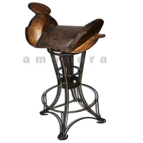 chaise selle de cheval chaise haute de bar en cuir et fer forgé chaise pivotante