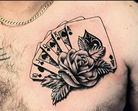 royal flush card deck  rose tattoo gambling tattoos