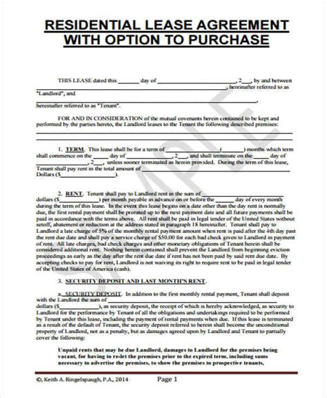 rent   home contract samples templates