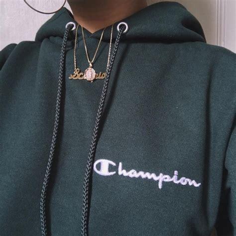 Sweater champion hoodie green champion champion army green sweatshirt jacket dark green ...