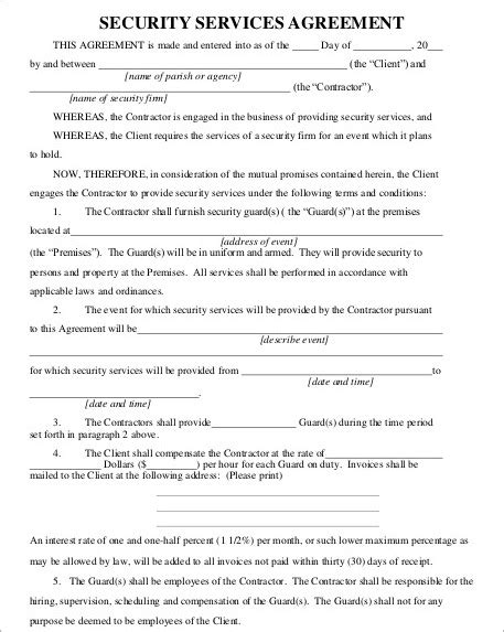 Security Contracts Templates by Service Agreement Templates Free Premium Templates