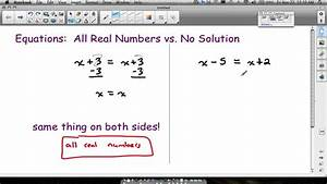 Equations All Real Numbers No Solution - YouTube
