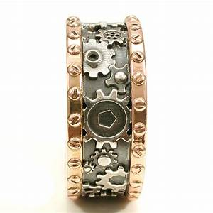rose gold steampunk gear ring sterling silver mens With mens steampunk wedding ring