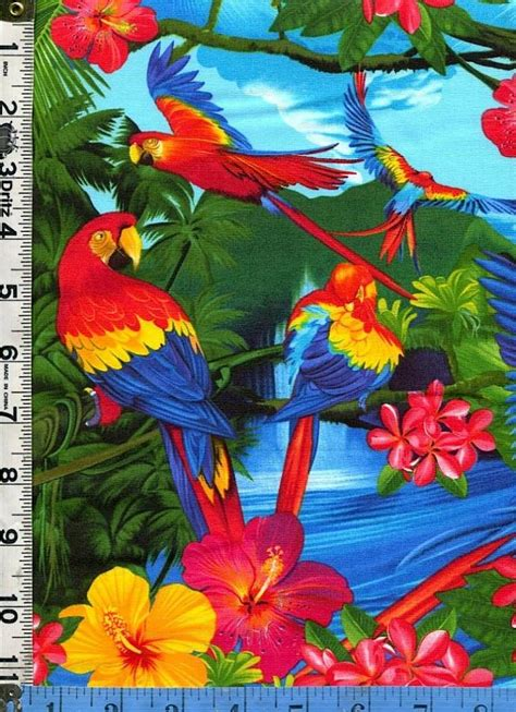 fabric timeless tropical island birds flowers