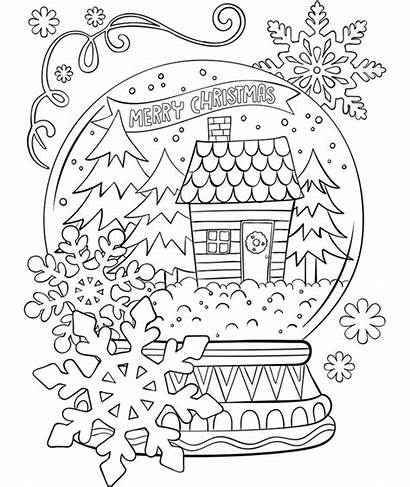Coloring Crayola Christmas Merry Snowglobe Pages