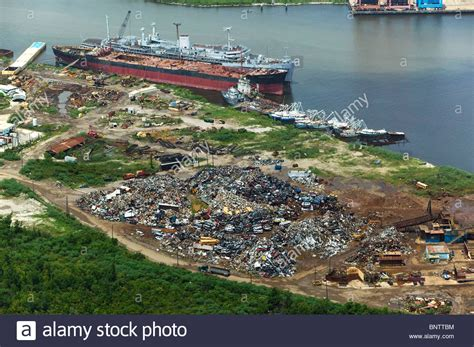 Boat Salvage Yards New Orleans by Aerial View Above Scrap Metal For Recycling New Orleans