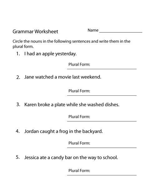 year 4 worksheets free printable grammar