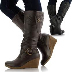 womens boots from uk womens leather style medium flat wedge knee high calf biker boots shoes ebay