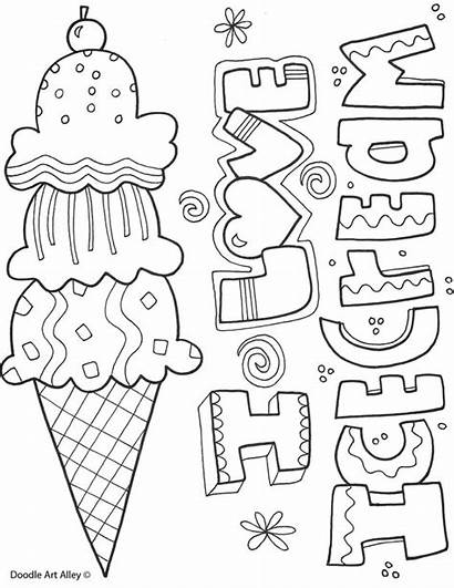 Coloring Ice Cream Summertime Doodles Printables Classroom