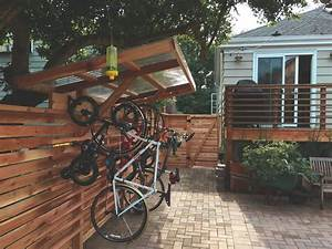 Covered, Hanging, Bike, Rack, Built, With, Tight, Knot, Cedar