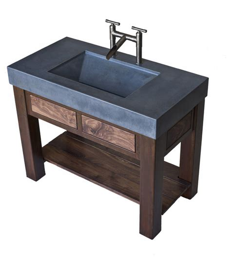 trough sink bathroom vanity concrete trough sink with patinaed steel and black walnut