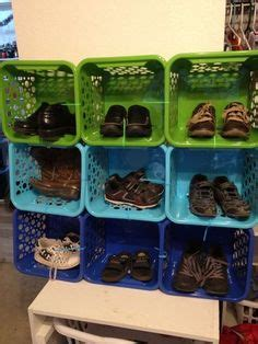 organize shoes  plastic shoe boxes     dollar tree   adhesive labels