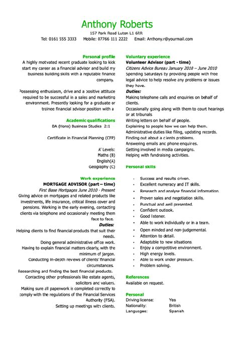 Cvs And Resumes Exles by Free Cv Exles Templates Creative Downloadable Fully