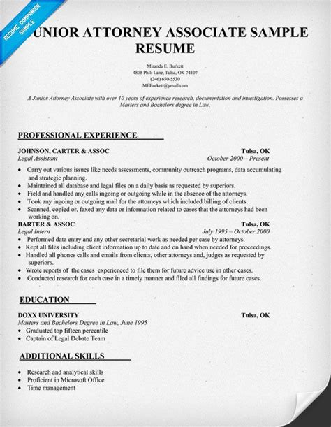 attorney associate resume sle law resumecompanion com resume sles across all