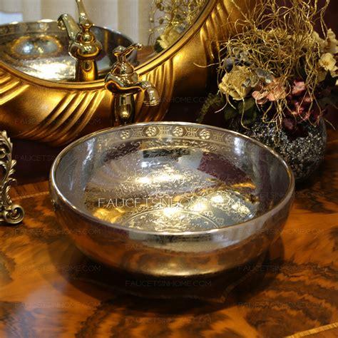 silver  porcelain vessel sinks pattern single bowl