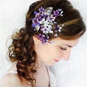 Lilac Purple Flower Hair Clip Bridal Hair Accessory Purple
