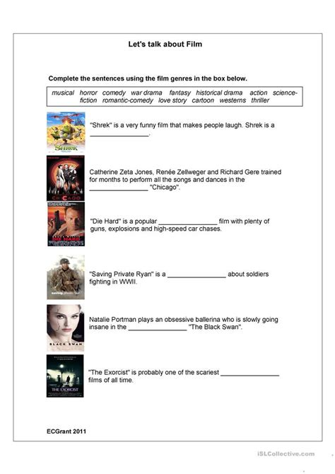 film genres worksheet  esl printable worksheets