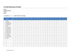 Auto Maintenance Schedule Spreadsheet by Auto Maintenance Checklist Printable Search Results