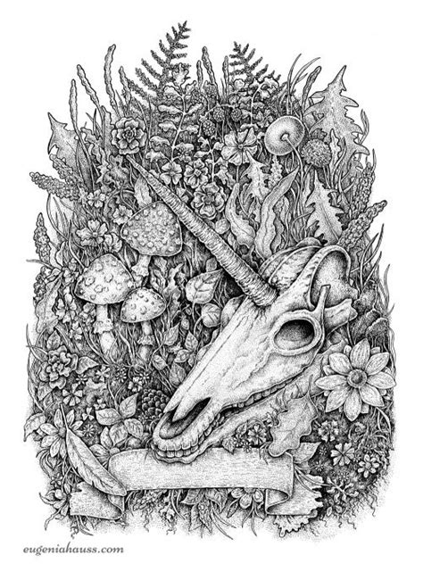 Unicorn skull. Black and white apparel design. | Animal