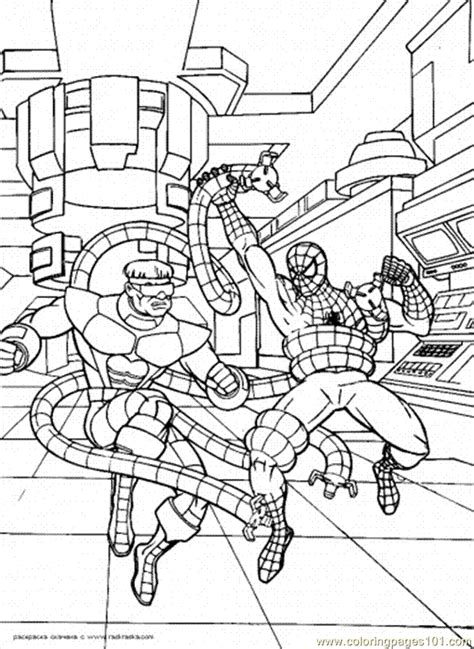 spiderman  figthing  enemy coloring page